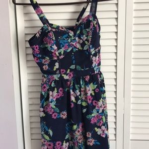 Black with multi colored flowers dress